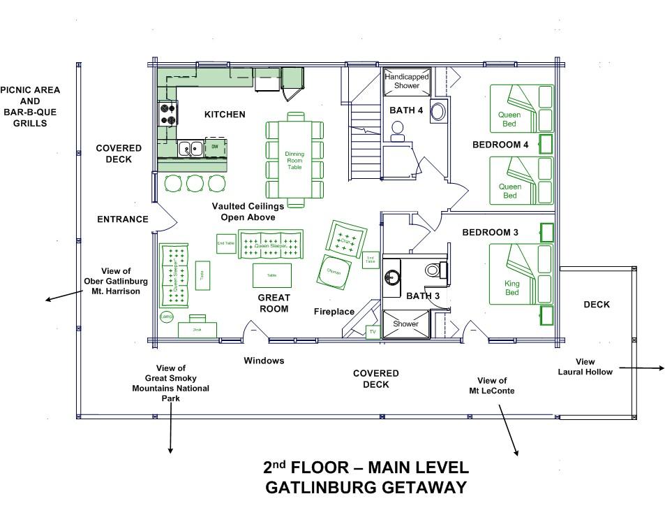 Gatlinburg Getaway Log Home Floor Plans